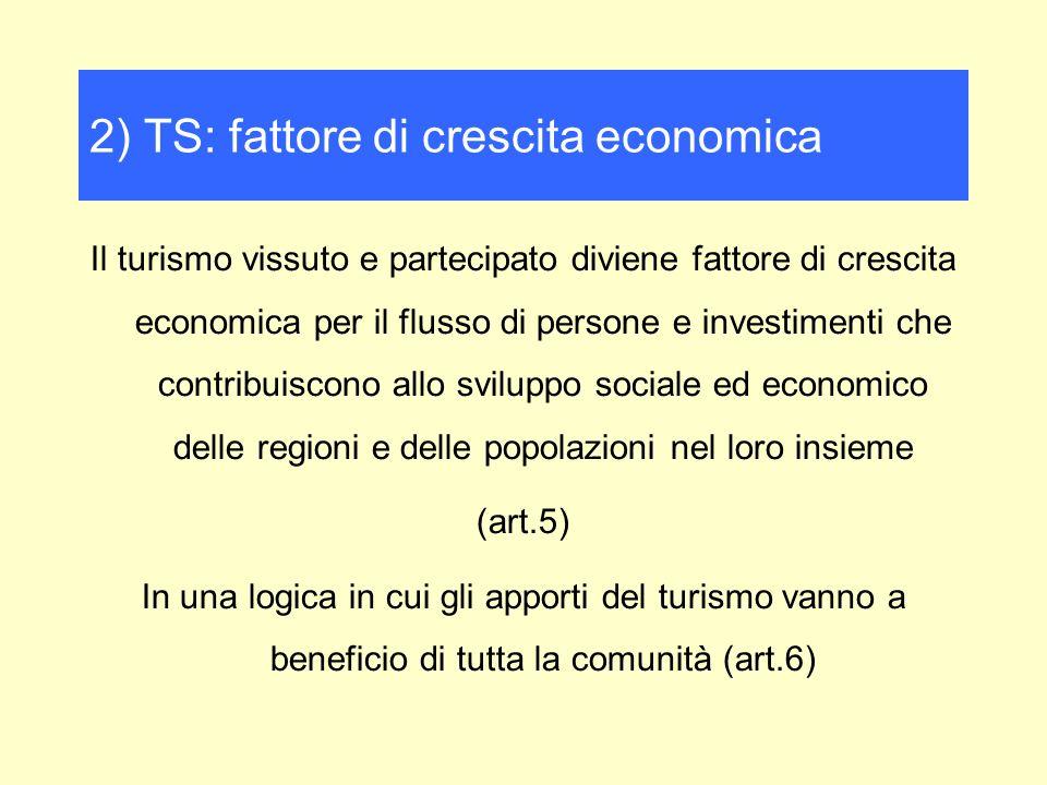Il turismo vissuto e partecipato diviene fattore di crescita economica per il flusso di persone e investimenti che contribuiscono allo sviluppo sociale ed economico delle regioni e delle popolazioni nel loro insieme (art.5) In una logica in cui gli apporti del turismo vanno a beneficio di tutta la comunità (art.6) 2) TS: fattore di crescita economica
