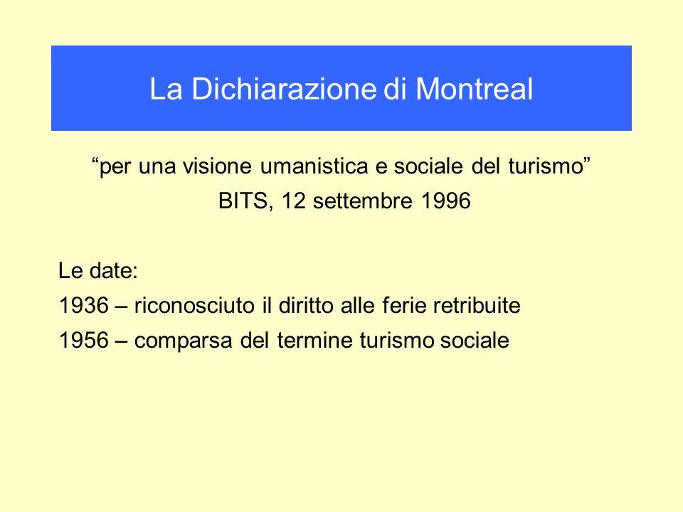 per una visione umanistica e sociale del turismo BITS, 12 settembre 1996 Le date: 1936 – riconosciuto il diritto alle ferie retribuite 1956 – comparsa del termine turismo sociale La Dichiarazione di Montreal