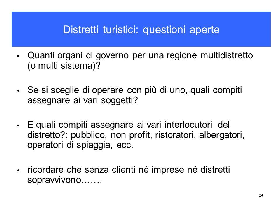 24 Quanti organi di governo per una regione multidistretto (o multi sistema)? Se si sceglie di operare con più di uno, quali compiti assegnare ai vari