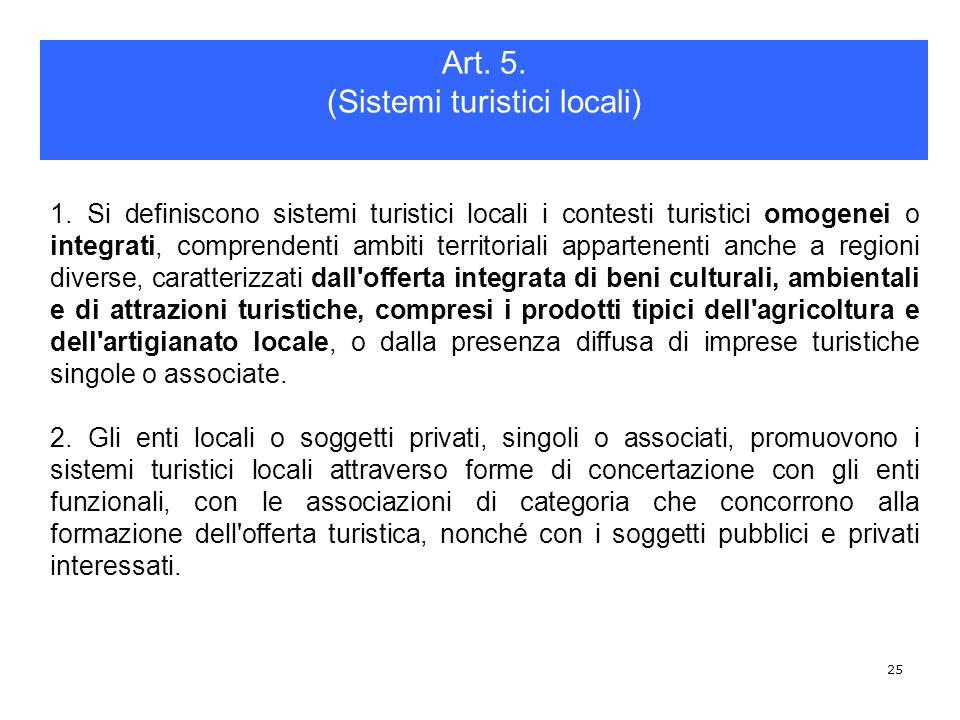 25 1. Si definiscono sistemi turistici locali i contesti turistici omogenei o integrati, comprendenti ambiti territoriali appartenenti anche a regioni