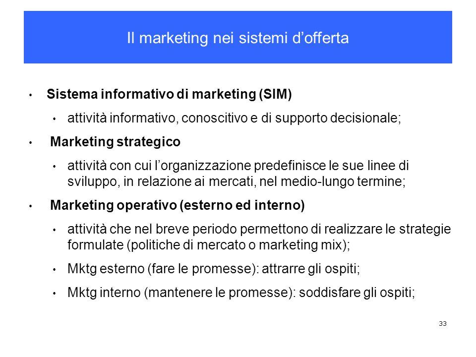 33 Sistema informativo di marketing (SIM) attività informativo, conoscitivo e di supporto decisionale; Marketing strategico attività con cui lorganizz