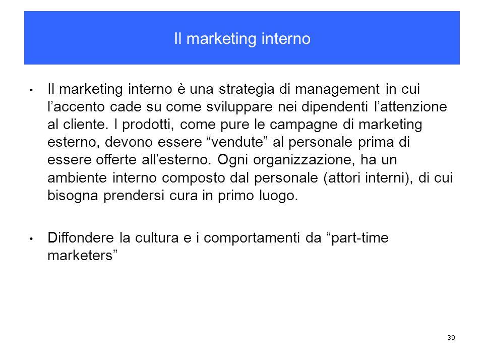 39 Il marketing interno è una strategia di management in cui laccento cade su come sviluppare nei dipendenti lattenzione al cliente. I prodotti, come