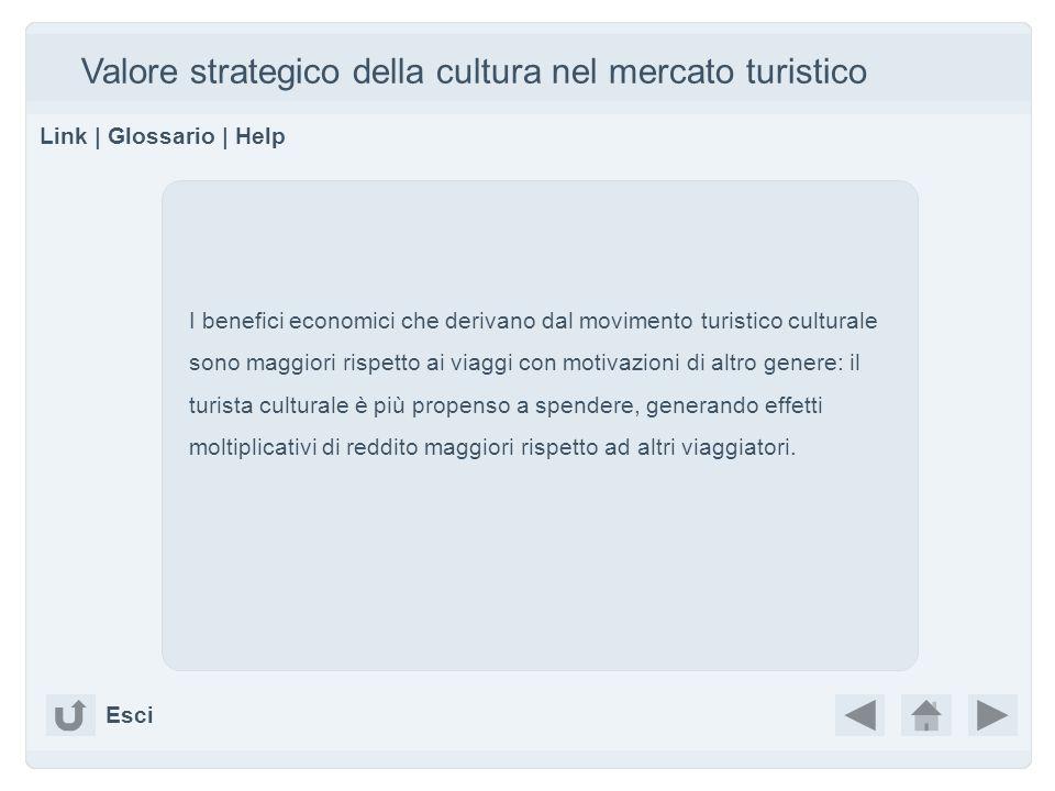 Valore strategico della cultura nel mercato turistico Link | Glossario | Help I benefici economici che derivano dal movimento turistico culturale sono