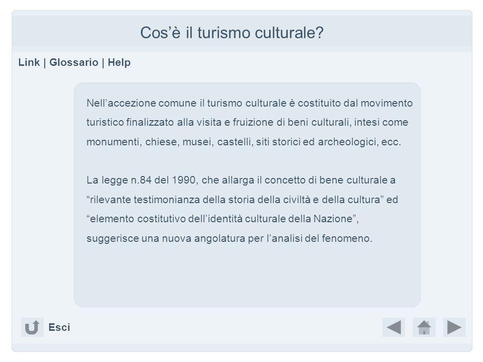 Cosè il turismo culturale? Link | Glossario | Help Nellaccezione comune il turismo culturale è costituito dal movimento turistico finalizzato alla vis
