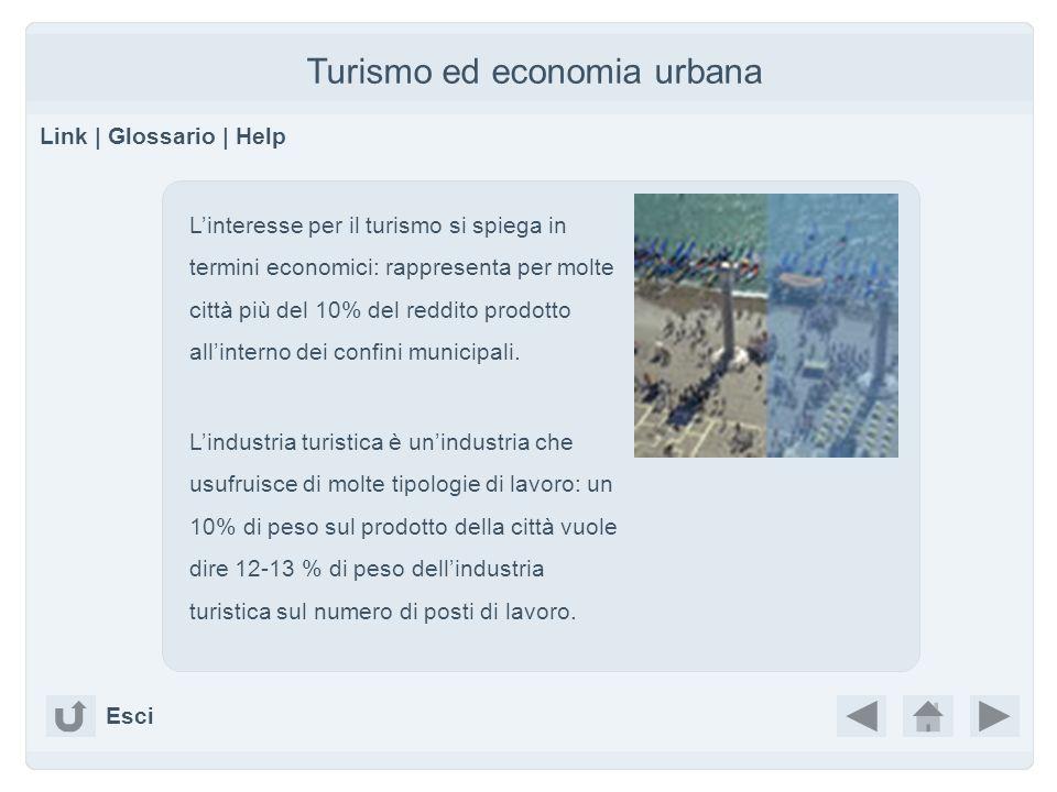 Turismo ed economia urbana Link | Glossario | Help Linteresse per il turismo si spiega in termini economici: rappresenta per molte città più del 10% d
