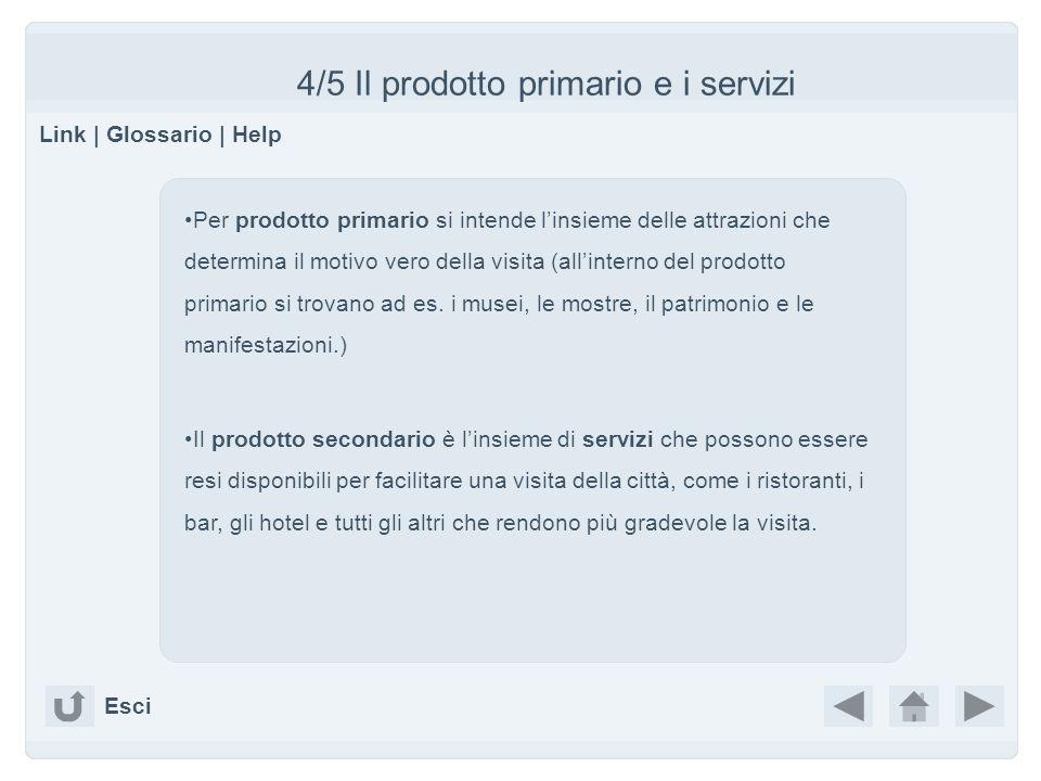 4/5 Il prodotto primario e i servizi Link | Glossario | Help Esci Per prodotto primario si intende linsieme delle attrazioni che determina il motivo v
