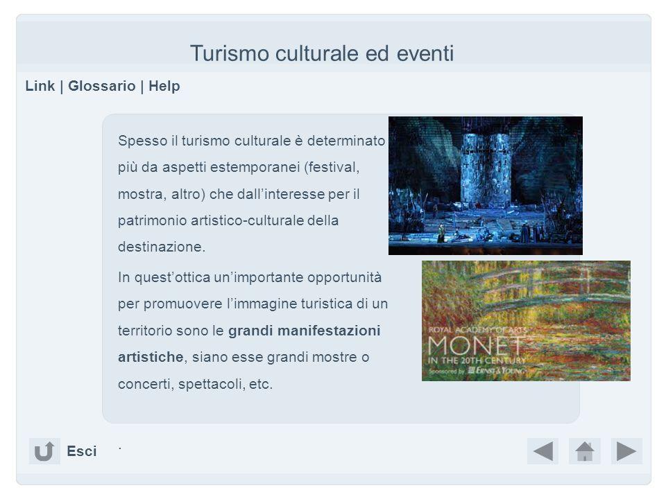 Turismo culturale ed eventi Link | Glossario | Help Esci Spesso il turismo culturale è determinato più da aspetti estemporanei (festival, mostra, altr