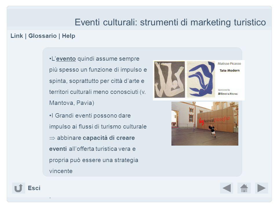 Eventi culturali: strumenti di marketing turistico Link | Glossario | Help Esci Levento quindi assume sempre più spesso un funzione di impulso e spint