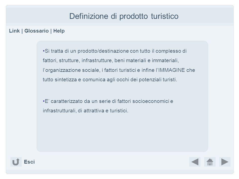 Definizione di prodotto turistico Link   Glossario   Help Si tratta di un prodotto/destinazione con tutto il complesso di fattori, strutture, infrastr