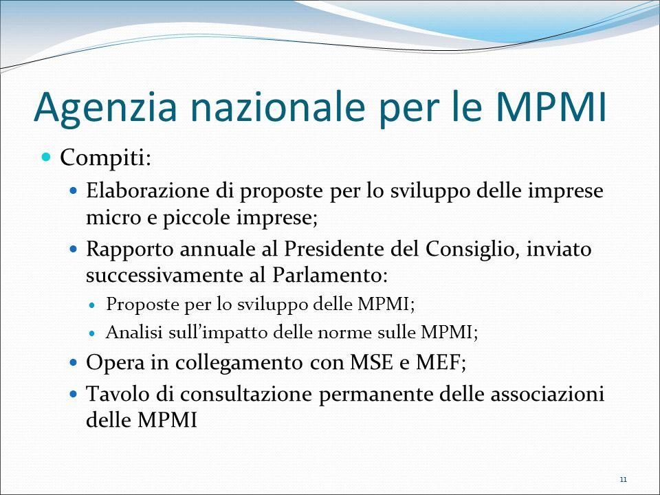 11 Agenzia nazionale per le MPMI Compiti: Elaborazione di proposte per lo sviluppo delle imprese micro e piccole imprese; Rapporto annuale al Presiden