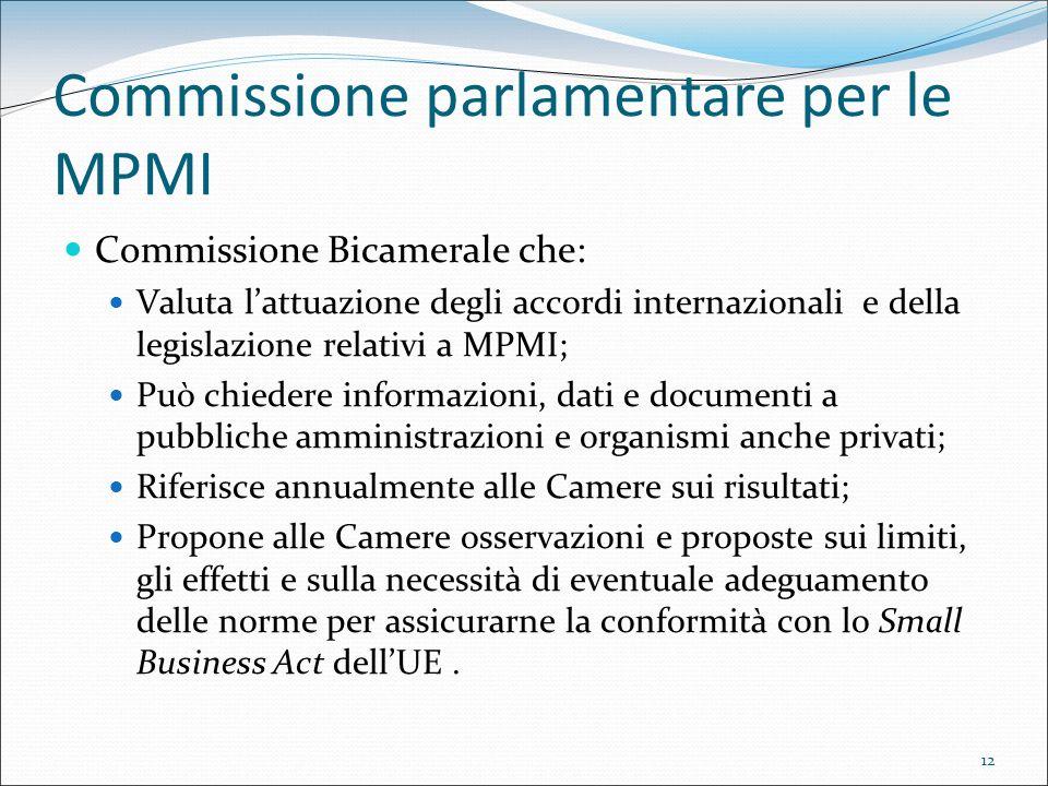 12 Commissione parlamentare per le MPMI Commissione Bicamerale che: Valuta lattuazione degli accordi internazionali e della legislazione relativi a MP