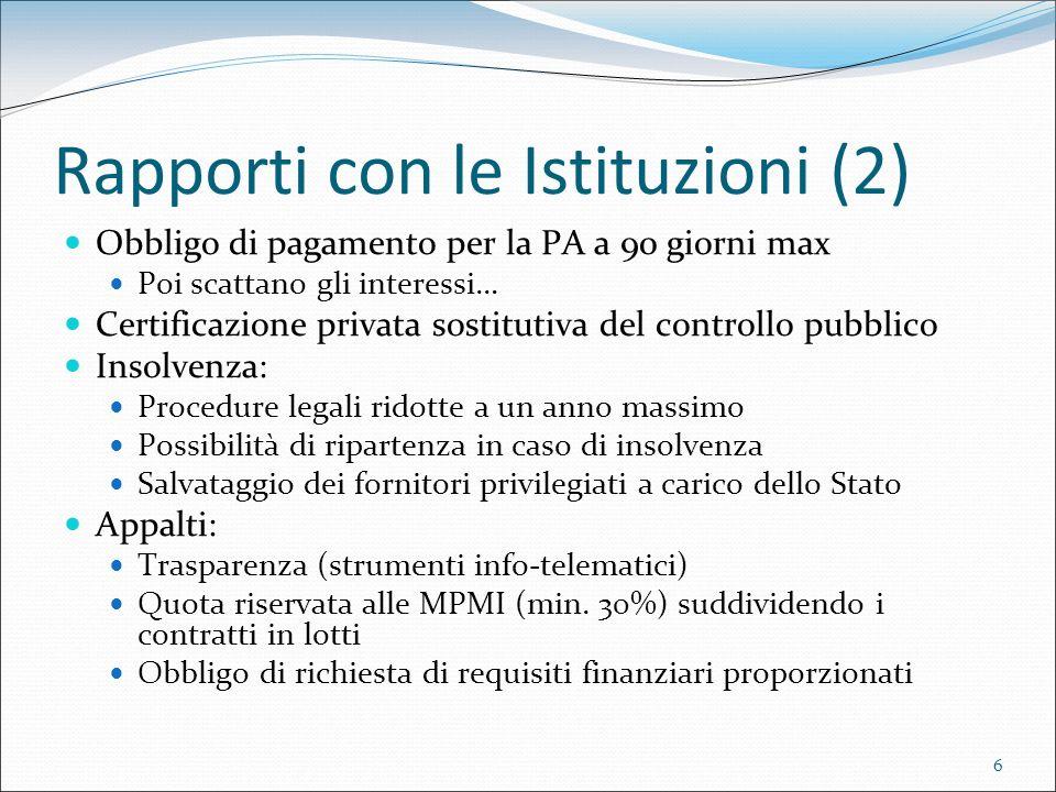 6 Rapporti con le Istituzioni (2) Obbligo di pagamento per la PA a 90 giorni max Poi scattano gli interessi… Certificazione privata sostitutiva del co