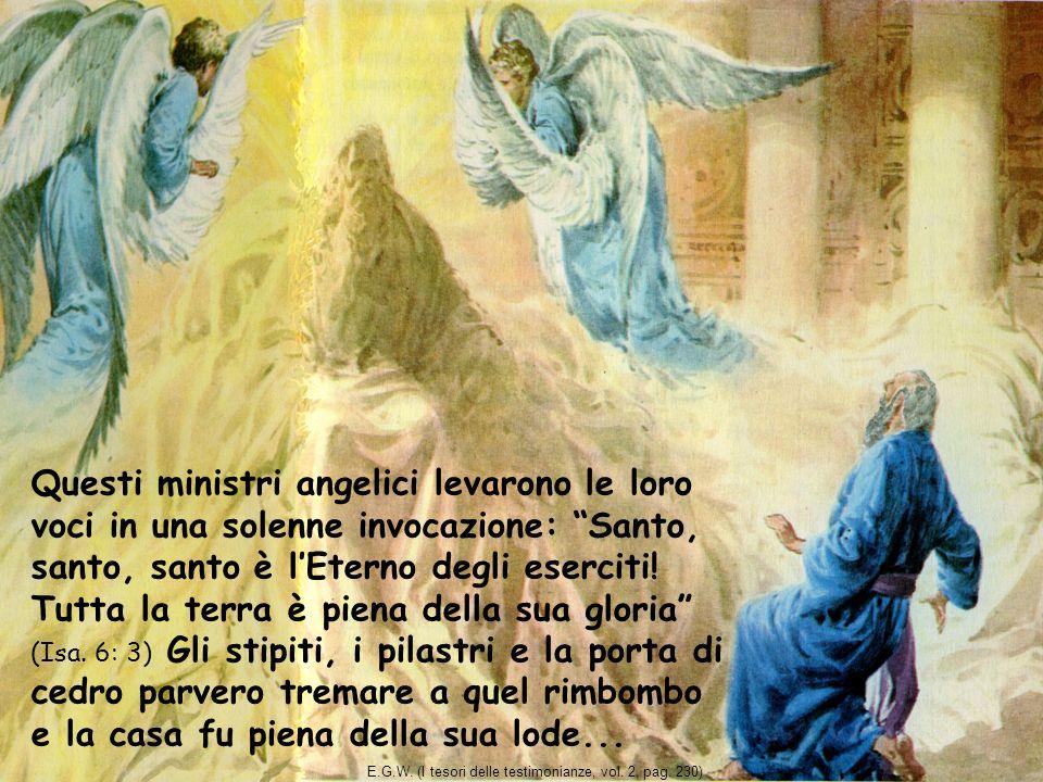 Questi ministri angelici levarono le loro voci in una solenne invocazione: Santo, santo, santo è lEterno degli eserciti! Tutta la terra è piena della