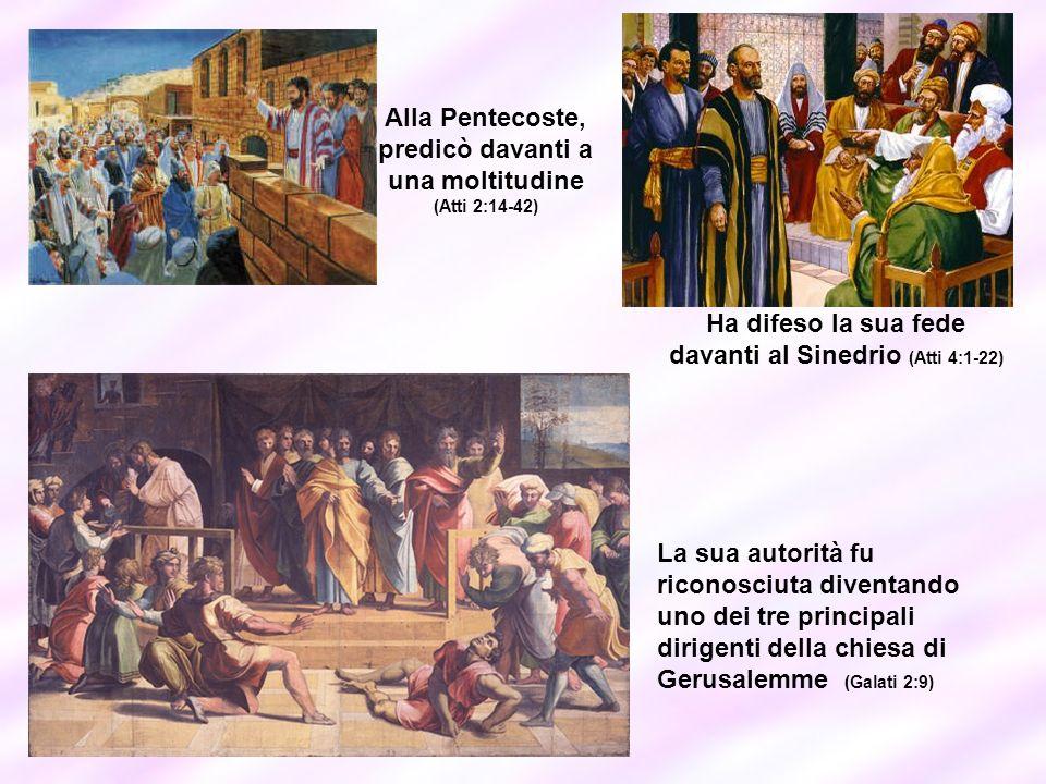 Alla Pentecoste, predicò davanti a una moltitudine (Atti 2:14-42) Ha difeso la sua fede davanti al Sinedrio (Atti 4:1-22) La sua autorità fu riconosci