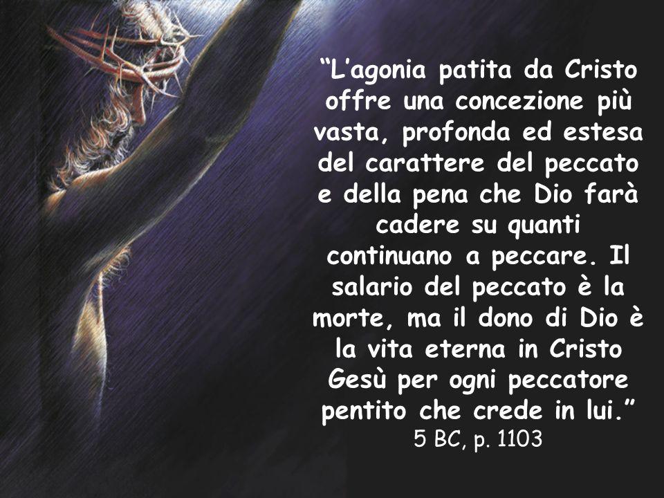 Lagonia patita da Cristo offre una concezione più vasta, profonda ed estesa del carattere del peccato e della pena che Dio farà cadere su quanti conti