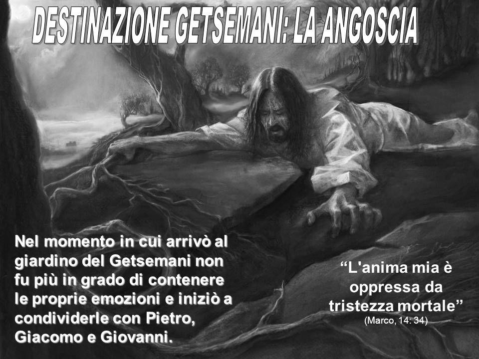 Nel momento in cui arrivò al giardino del Getsemani non fu più in grado di contenere le proprie emozioni e iniziò a condividerle con Pietro, Giacomo e
