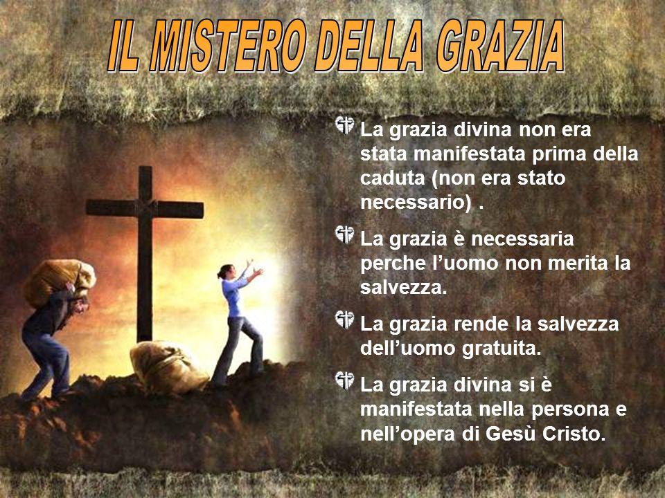 La grazia divina non era stata manifestata prima della caduta (non era stato necessario). La grazia è necessaria perche luomo non merita la salvezza.