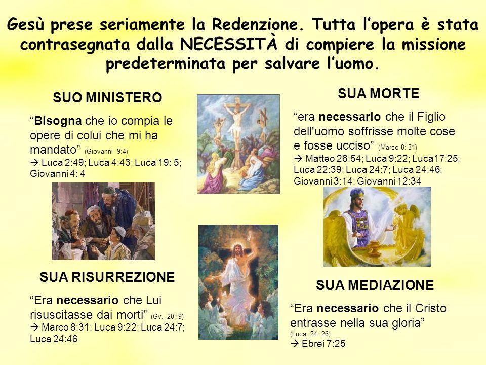 Gesù prese seriamente la Redenzione. Tutta lopera è stata contrasegnata dalla NECESSITÀ di compiere la missione predeterminata per salvare luomo. SUO