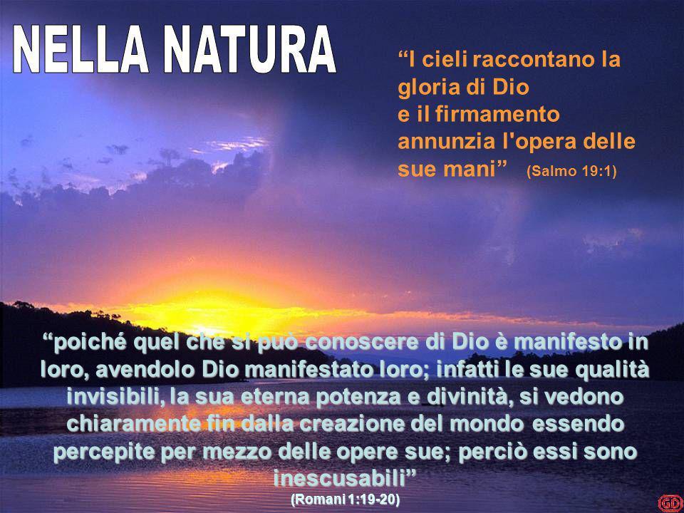poiché quel che si può conoscere di Dio è manifesto in loro, avendolo Dio manifestato loro; infatti le sue qualità invisibili, la sua eterna potenza e