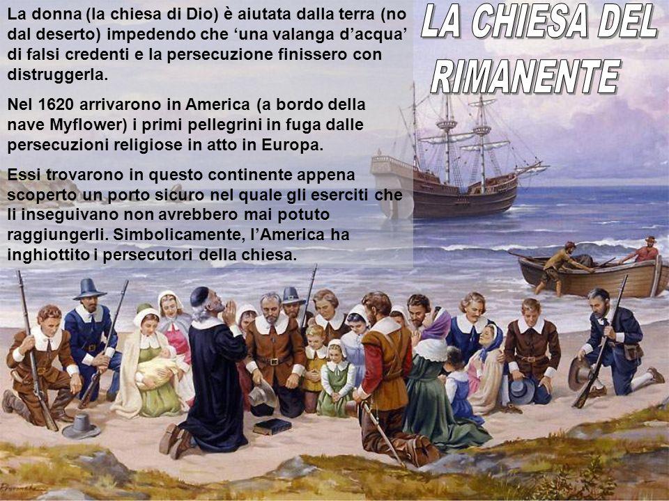 La donna (la chiesa di Dio) è aiutata dalla terra (no dal deserto) impedendo che una valanga dacqua di falsi credenti e la persecuzione finissero con