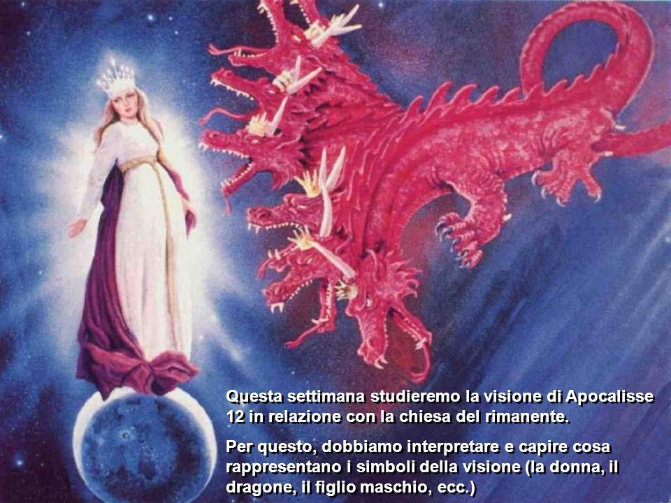 Il capitolo si divide, come vedremo di seguito, in tre parti: Prima parte: I versetti dal 1 al 6 descrivono la visione della donna che partorisce un figlio maschio e viene attaccata dal dragone.