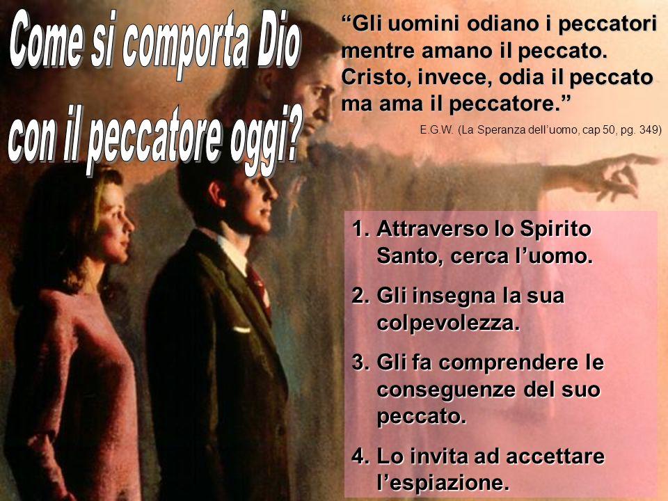 1.A ttraverso lo Spirito Santo, cerca luomo. 2.G li insegna la sua colpevolezza. 3.G li fa comprendere le conseguenze del suo peccato. 4.L o invita ad