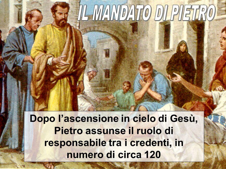 Dopo lascensione in cielo di Gesù, Pietro assunse il ruolo di responsabile tra i credenti, in numero di circa 120