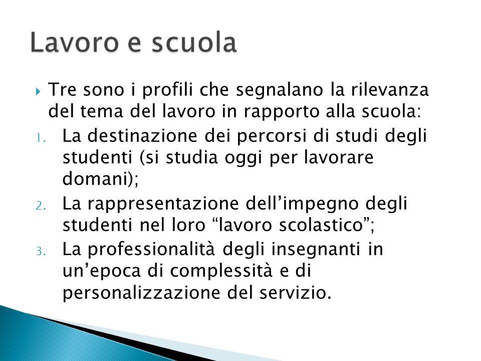 Tre sono i profili che segnalano la rilevanza del tema del lavoro in rapporto alla scuola: 1. La destinazione dei percorsi di studi degli studenti (si
