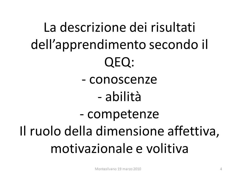 La descrizione dei risultati dellapprendimento secondo il QEQ: - conoscenze - abilità - competenze Il ruolo della dimensione affettiva, motivazionale e volitiva 4Montesilvano 19 marzo 2010