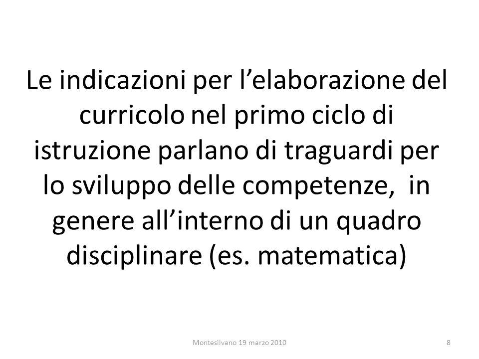 Le indicazioni per lelaborazione del curricolo nel primo ciclo di istruzione parlano di traguardi per lo sviluppo delle competenze, in genere allinterno di un quadro disciplinare (es.