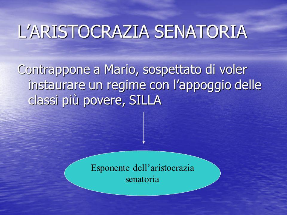 LARISTOCRAZIA SENATORIA Contrappone a Mario, sospettato di voler instaurare un regime con lappoggio delle classi più povere, SILLA Esponente dellarist