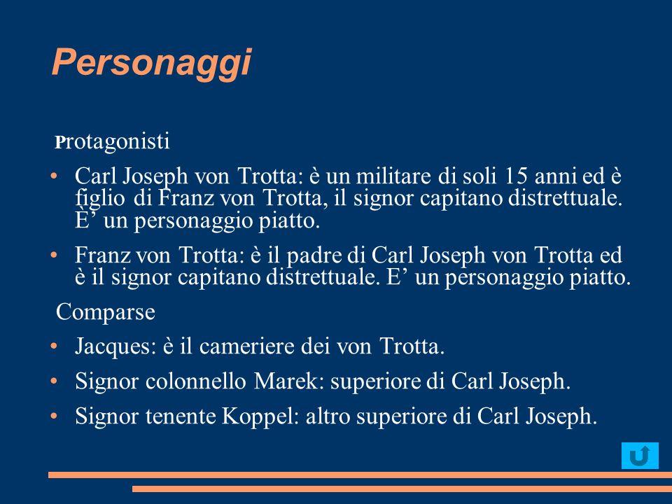 Personaggi P rotagonisti Carl Joseph von Trotta: è un militare di soli 15 anni ed è figlio di Franz von Trotta, il signor capitano distrettuale. È un