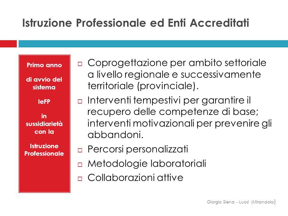 Istruzione Professionale ed Enti Accreditati Giorgio Siena - Luosi (Mirandola ) Primo anno di avvio del sistema IeFP in sussidiarietà con la Istruzion
