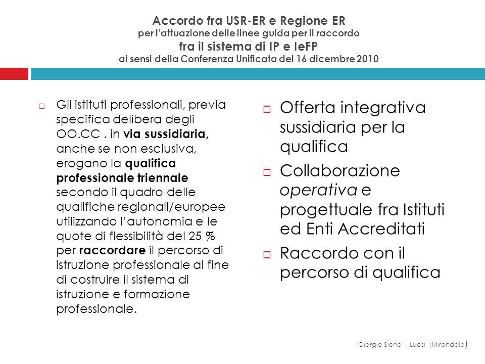 Accordo fra USR-ER e Regione ER per lattuazione delle linee guida per il raccordo fra il sistema di IP e IeFP ai sensi della Conferenza Unificata del