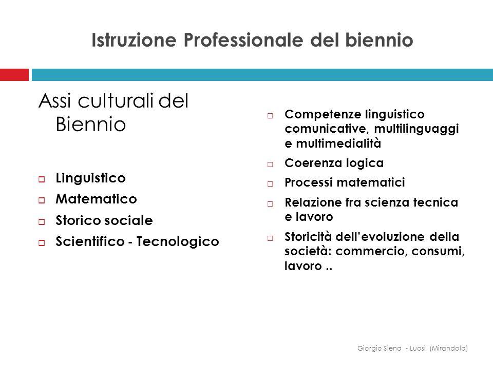 Istruzione Professionale del biennio Assi culturali del Biennio Linguistico Matematico Storico sociale Scientifico - Tecnologico Competenze linguistic