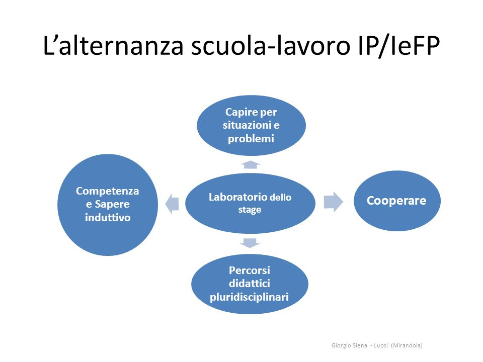 Lalternanza scuola-lavoro IP/IeFP Laboratorio dello stage Capire per situazioni e problemi Cooperare Percorsi didattici pluridisciplinari Competenz a