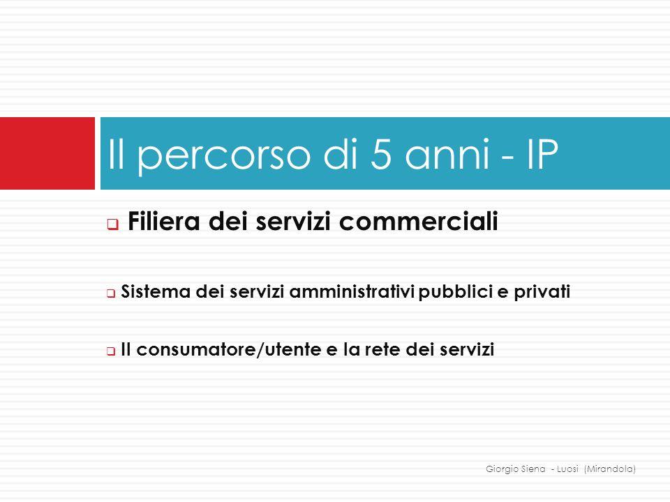 Filiera dei servizi commerciali Sistema dei servizi amministrativi pubblici e privati Il consumatore/utente e la rete dei servizi Il percorso di 5 ann
