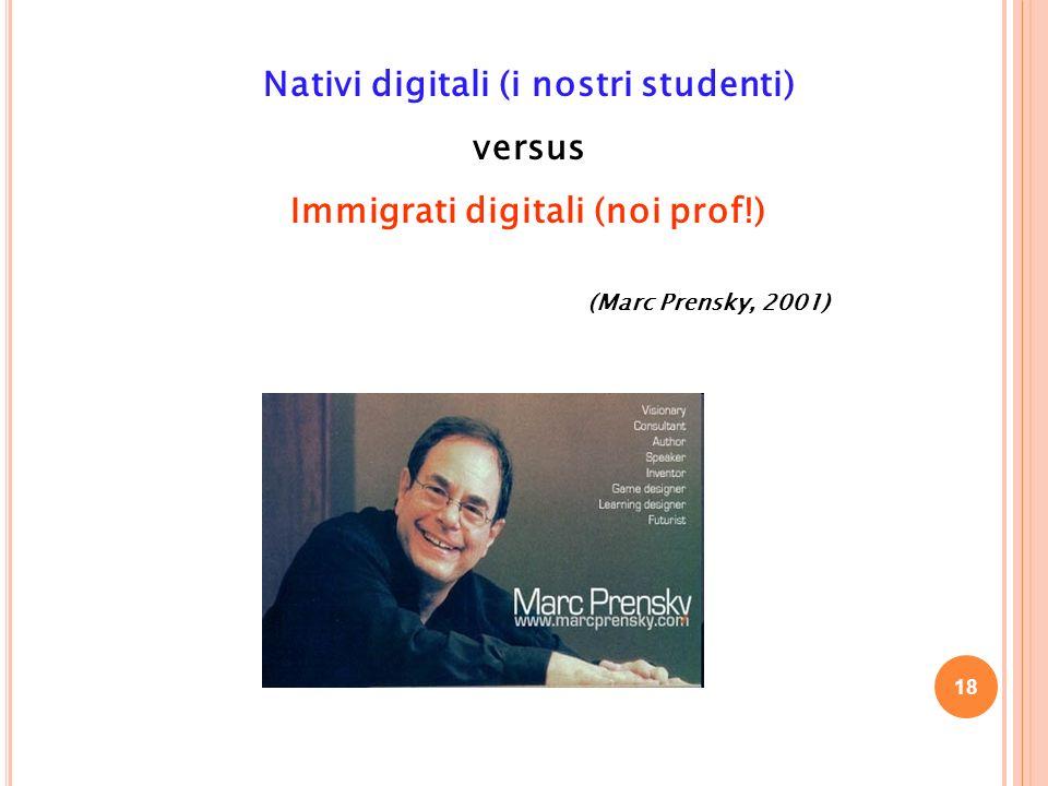 Nativi digitali (i nostri studenti) versus Immigrati digitali (noi prof!) (Marc Prensky, 2001) 18