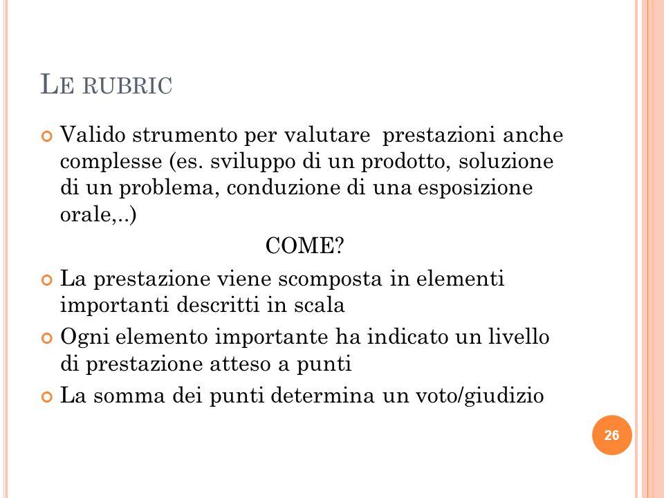L E RUBRIC Valido strumento per valutare prestazioni anche complesse (es. sviluppo di un prodotto, soluzione di un problema, conduzione di una esposiz