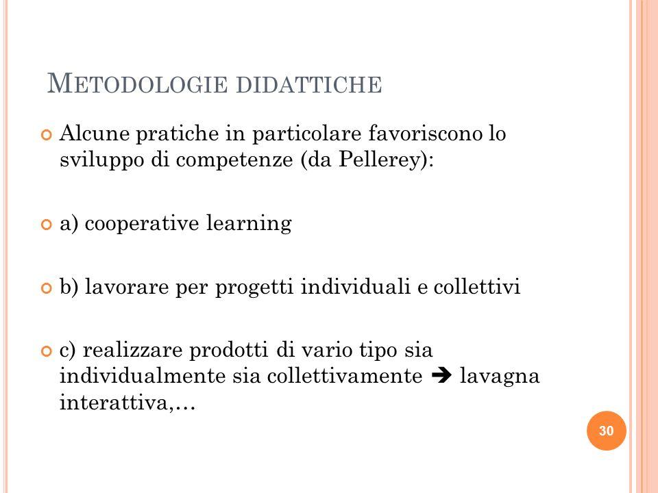 M ETODOLOGIE DIDATTICHE Alcune pratiche in particolare favoriscono lo sviluppo di competenze (da Pellerey): a) cooperative learning b) lavorare per pr
