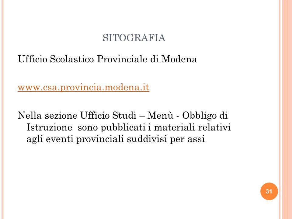 SITOGRAFIA Ufficio Scolastico Provinciale di Modena www.csa.provincia.modena.it Nella sezione Ufficio Studi – Menù - Obbligo di Istruzione sono pubbli