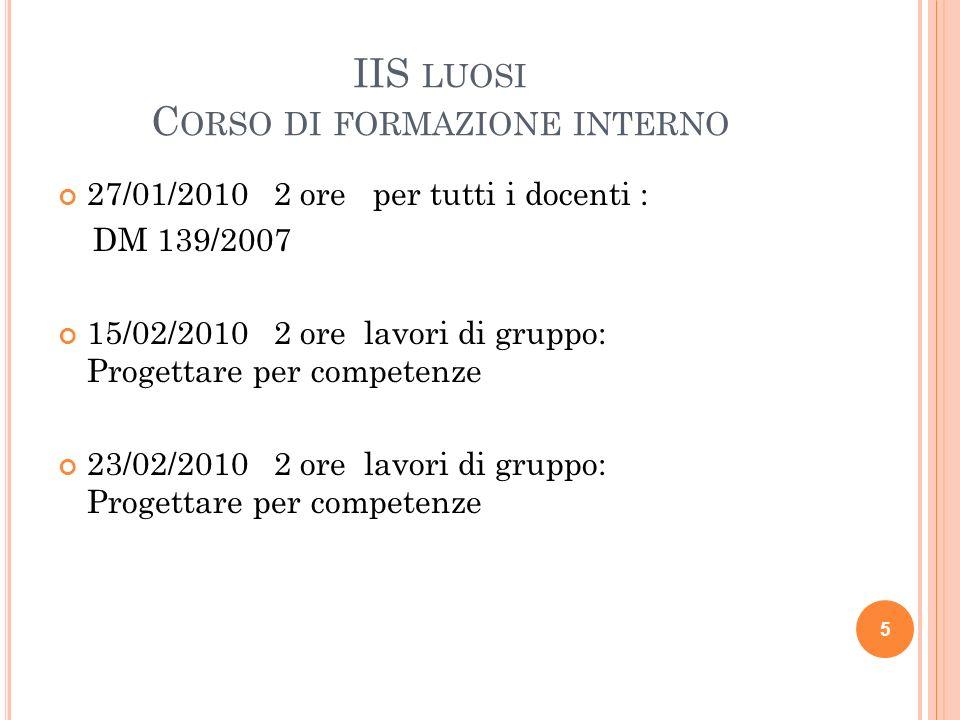IIS LUOSI C ORSO DI FORMAZIONE INTERNO 27/01/2010 2 ore per tutti i docenti : DM 139/2007 15/02/2010 2 ore lavori di gruppo: Progettare per competenze