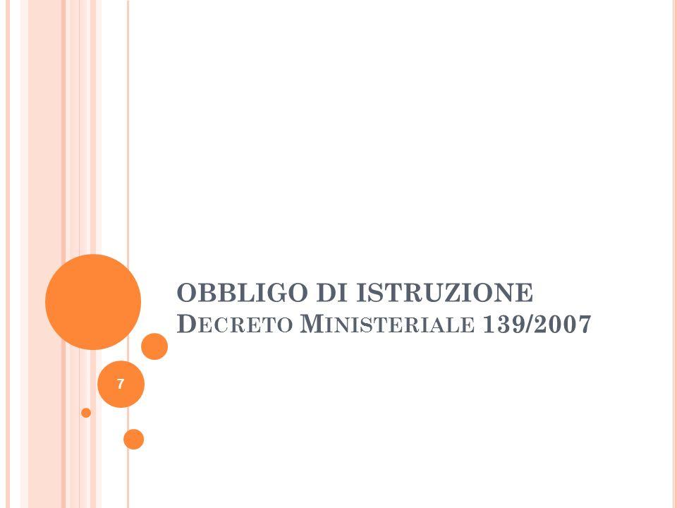 OBBLIGO DI ISTRUZIONE D ECRETO M INISTERIALE 139/2007 7