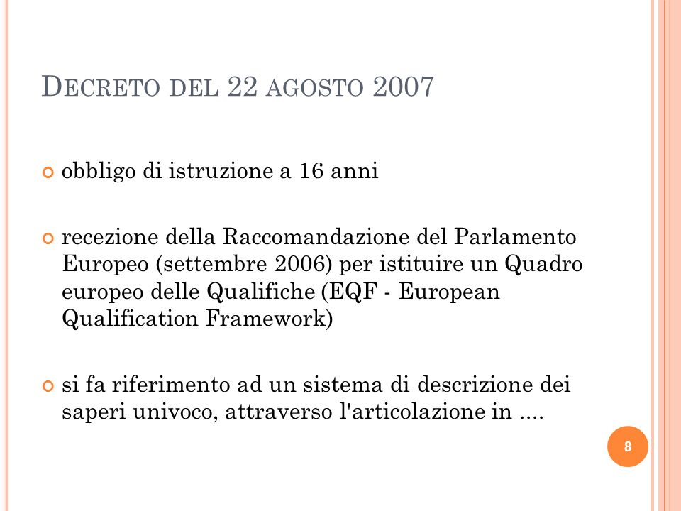 D ECRETO DEL 22 AGOSTO 2007 obbligo di istruzione a 16 anni recezione della Raccomandazione del Parlamento Europeo (settembre 2006) per istituire un Q