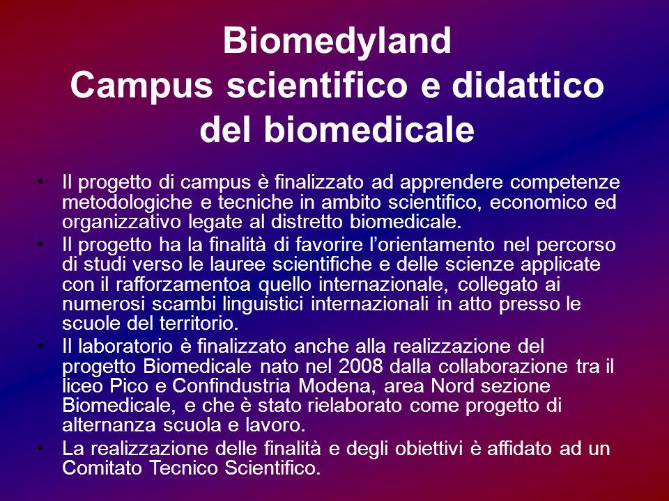 Biomedyland Campus scientifico e didattico del biomedicale Il progetto di campus è finalizzato ad apprendere competenze metodologiche e tecniche in ambito scientifico, economico ed organizzativo legate al distretto biomedicale.