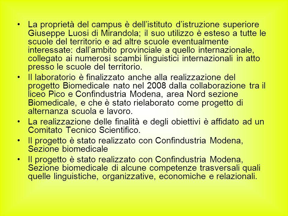 La proprietà del campus è dellistituto distruzione superiore Giuseppe Luosi di Mirandola; il suo utilizzo è esteso a tutte le scuole del territorio e ad altre scuole eventualmente interessate: dallambito provinciale a quello internazionale, collegato ai numerosi scambi linguistici internazionali in atto presso le scuole del territorio.