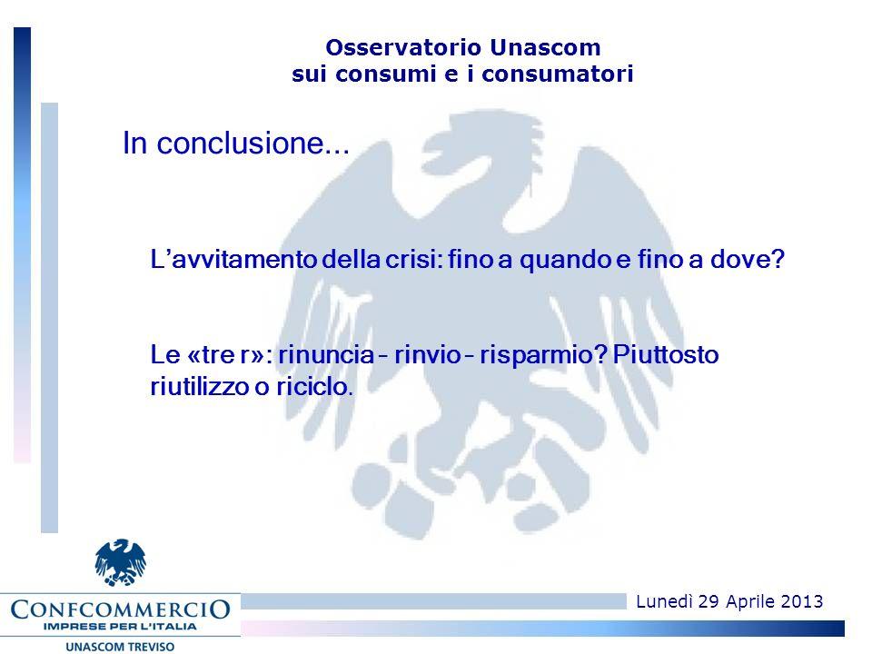 Lunedì 29 Aprile 2013 Osservatorio Unascom sui consumi e i consumatori Lavvitamento della crisi: fino a quando e fino a dove.