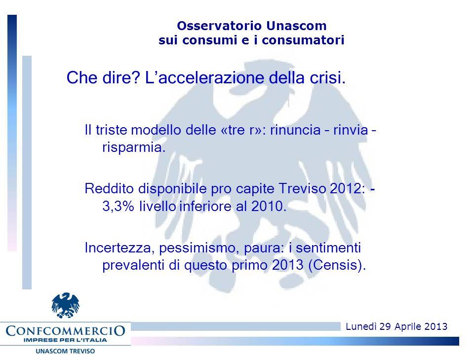 Lunedì 29 Aprile 2013 Osservatorio Unascom sui consumi e i consumatori Che dire.