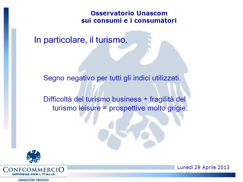 Lunedì 29 Aprile 2013 Osservatorio Unascom sui consumi e i consumatori In particolare, il turismo.