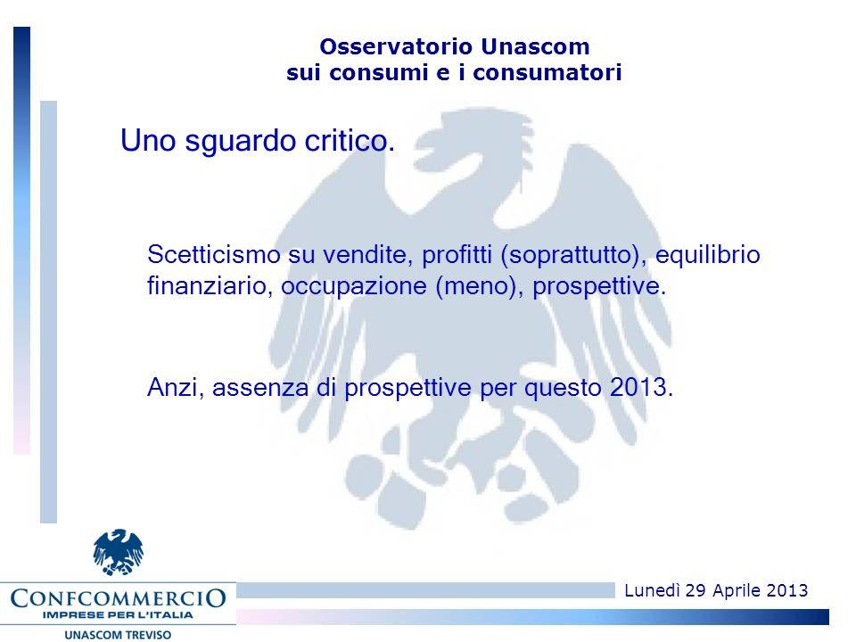 Lunedì 29 Aprile 2013 Osservatorio Unascom sui consumi e i consumatori Scetticismo su vendite, profitti (soprattutto), equilibrio finanziario, occupazione (meno), prospettive.